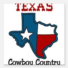 "Cowboy Country Square Car Magnet 3"" x 3"""