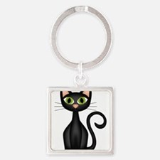 Black Cat Square Keychain
