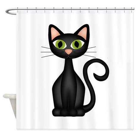 black cat shower curtain by sapereaude2