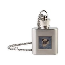 Chinese Pug head study Flask Necklace