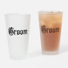 Gothic Text Groom Drinking Glass