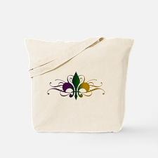 Purple Green Gold Fleur De Lis Tote Bag