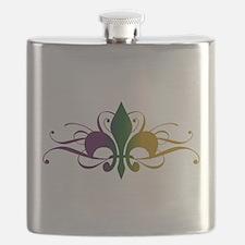 Purple Green Gold Fleur De Lis Flask