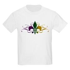 Purple Green Gold Fleur De Lis T-Shirt