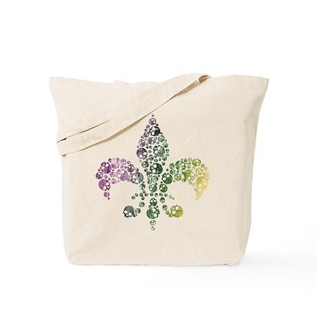 Colorful Skull Fleur De Lis Tote Bag