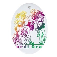 Mardi Gras Showgirls Ornament (Oval)