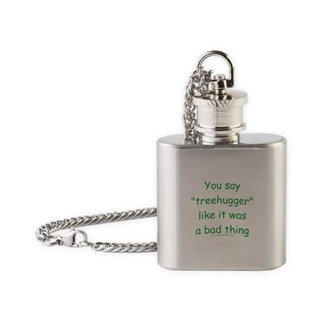 Fun Treehugger Saying Flask Necklace