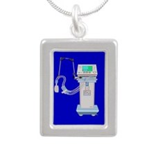 Respiratory Therapy Silver Portrait Necklace