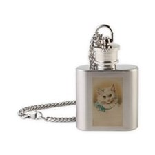 White Cat with Blue Bow Flask Necklace