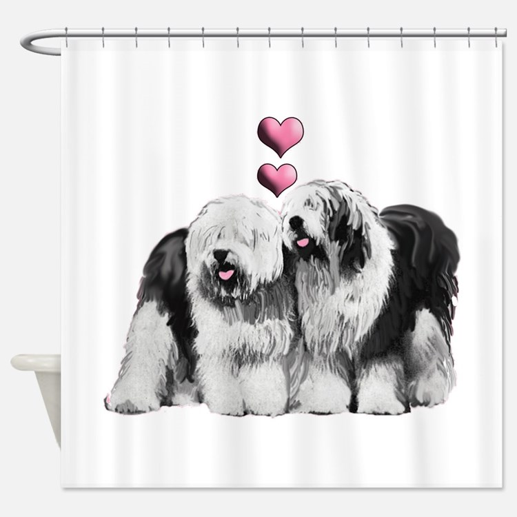 Ole English Sheepdog Pair Shower Curtain