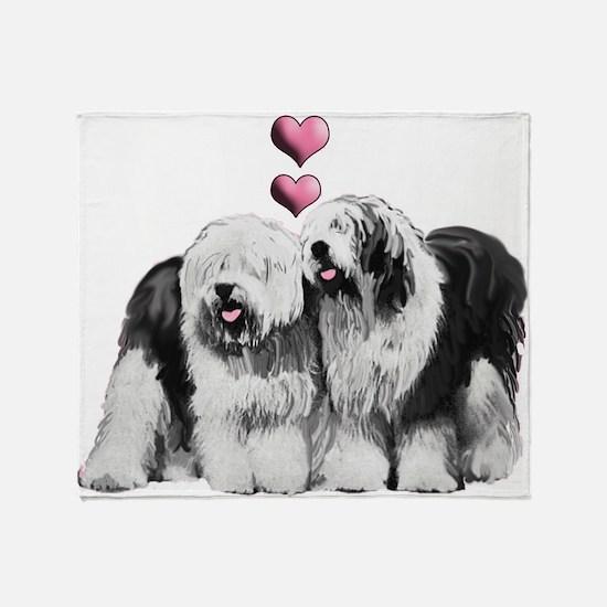 Ole English Sheepdog Pair Throw Blanket