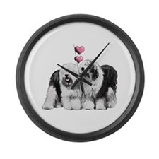 Ole English Sheepdog Pair Large Wall Clock