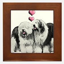 Ole English Sheepdog Pair Framed Tile