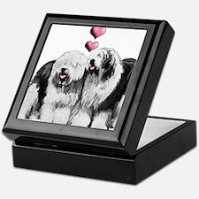 Ole English Sheepdog Pair Keepsake Box