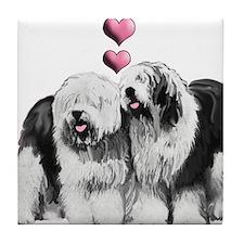 Ole English Sheepdog Pair Tile Coaster