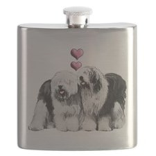 Ole English Sheepdog Pair Flask