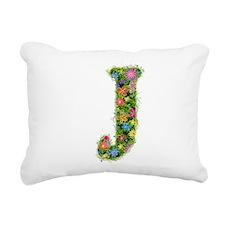 J Floral Rectangular Canvas Pillow