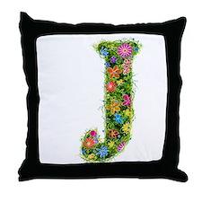 J Floral Throw Pillow