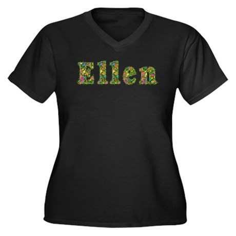 Ellen Floral Women's Plus Size V-Neck Dark T-Shirt
