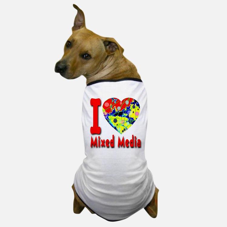 I Love Mixed Media Dog T-Shirt