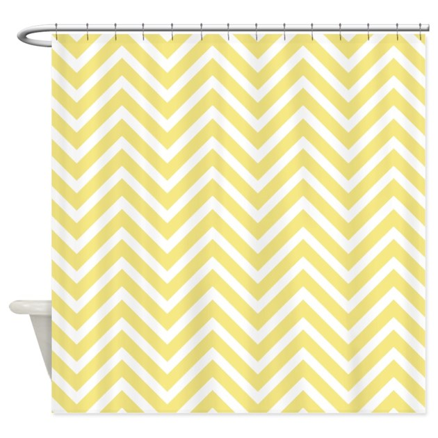 Yellow Chevron Stripes Shower Curtain By Cheriverymery