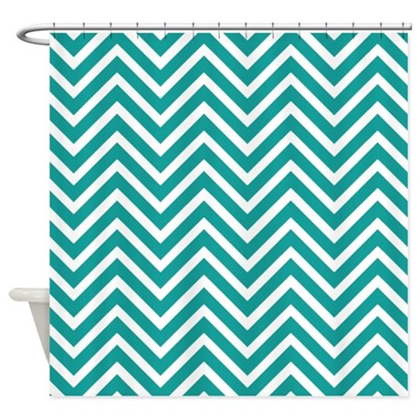 Teal Chevron Stripes Shower Curtain By Cheriverymery