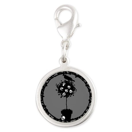Evil Skull Topiary Silver Round Charm