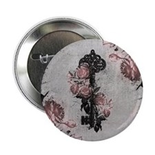 "Gothic Key And Roses 2.25"" Button"