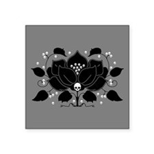 "Gothic Skull Lily Square Sticker 3"" x 3"""