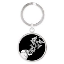 Skull With Butterflies Round Keychain