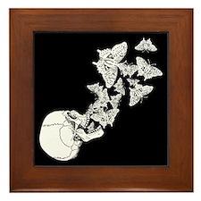 Skull With Butterflies Framed Tile