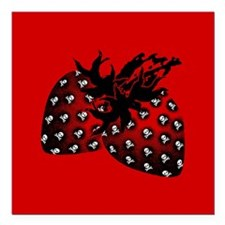 "Gothic Strawberries Square Car Magnet 3"" x 3"""