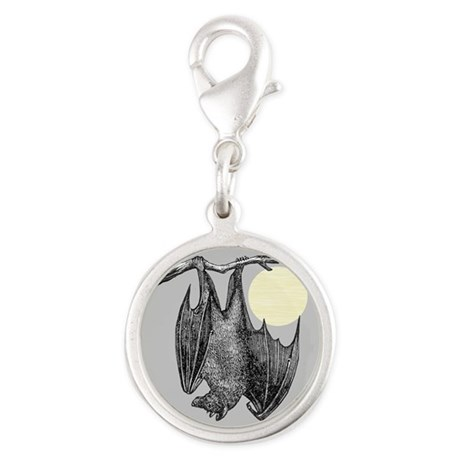 Hanging Bat Silver Round Charm