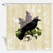 Lilacs And Crow Shower Curtain