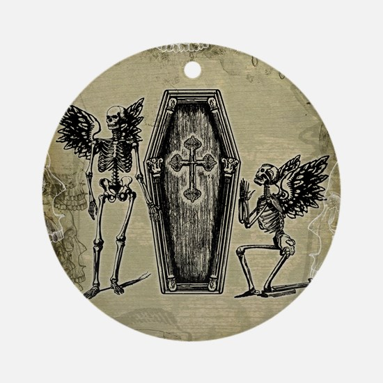 Winged Skeletons And Coffin Ornament (Round)