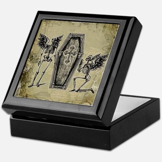 Winged Skeletons And Coffin Keepsake Box
