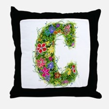 C Floral Throw Pillow