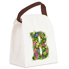 B Floral Canvas Lunch Bag