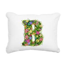 B Floral Rectangular Canvas Pillow