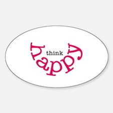 Think Happy (red smile) Sticker (Oval)