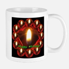 Happy Holidays Rose Candle Wreath Mug