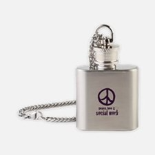 Peace, Love, & Social Work Flask Necklace