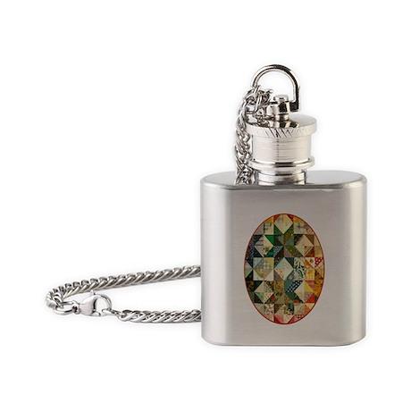 Fun Patchwork Quilt Flask Necklace