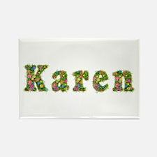 Karen Floral Rectangle Magnet