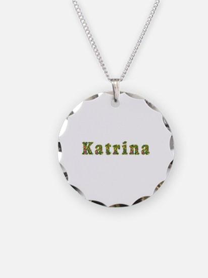 Katrina Floral Necklace Circle Charm