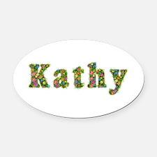 Kathy Floral Oval Car Magnet