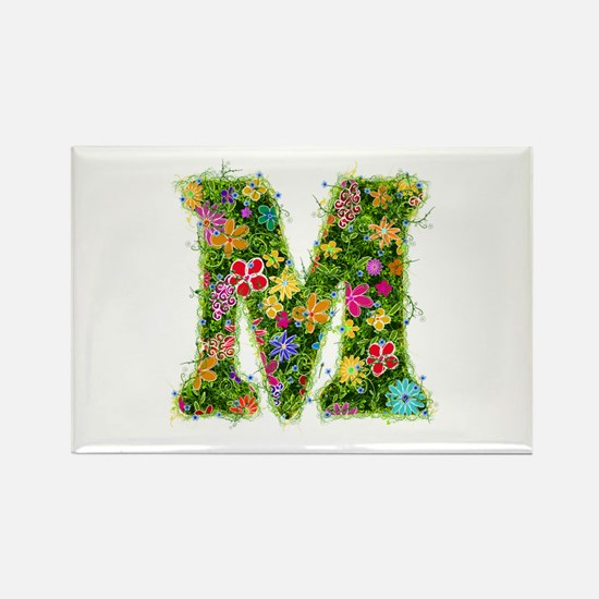 M Floral Rectangle Magnet