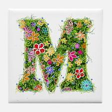 M Floral Tile Coaster