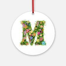 M Floral Round Ornament