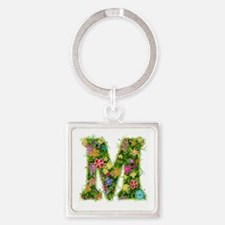 M Floral Square Keychain